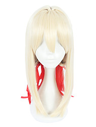 cheap -Synthetic Wig Straight Blonde Layered Haircut Synthetic Hair Cosplay Blonde Wig Women's Mid Length Capless / Yes