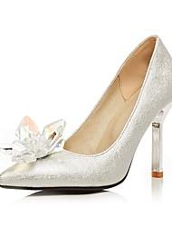 baratos -Mulheres Sapatos Courino Primavera Verão Plataforma Básica Saltos Caminhada Salto Agulha Dedo Apontado Cristais Prata / Festas & Noite