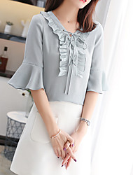 cheap -Women's Basic Blouse - Solid Colored Ruffle / Lace up