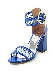 abordables -Femme Chaussures Similicuir Eté Escarpin Basique Sandales Talon Bottier Bout ouvert Boucle Noir / Beige / Bleu / Soirée & Evénement