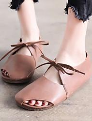 Недорогие -Жен. Обувь Кожа Лето Удобная обувь На плокой подошве На плоской подошве для на открытом воздухе Кофейный Синий