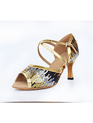 cheap -Women's Latin Shoes Sparkling Glitter Sneaker Bows Slim High Heel Customizable Dance Shoes Gold / Leather