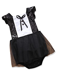 cheap -Baby Girls' Punk & Gothic / Sophisticated Party Black & White Solid Colored Lace / Peplum / Sequins Short Sleeve Above Knee Dress / Bow / Layered / Ruffle / Pleated / Mesh