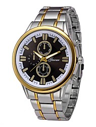 cheap -Men's Dress Watch Wrist Watch Quartz 30 m Chronograph Creative Large Dial Stainless Steel Band Analog Fashion Silver / Gold - Black / Gold Black / White White / Gold One Year Battery Life