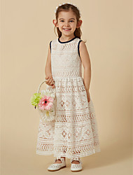 cheap -A-Line Ankle Length Flower Girl Dress - Lace Sleeveless Jewel Neck with Bow(s) by LAN TING BRIDE®