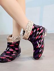 Недорогие -Жен. Обувь КожаПВХ Осень Резиновые сапоги Ботинки На низком каблуке Черный / Пурпурный