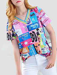 baratos -t-shirt feminina - carta de bloco de cor em volta do pescoço