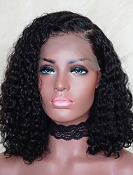 cheap -Remy Human Hair Lace Front Wig Brazilian Hair / Water Wave Curly Bob Haircut / Deep Parting 150% Density With Baby Hair / Natural