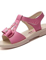baratos -Mulheres Sapatos Couro Ecológico Verão Conforto Sandálias Sem Salto Laço para Bege / Fúcsia / Rosa claro