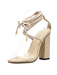 baratos -Mulheres Sapatos PVC / Cashmere Verão Tira no Tornozelo Sandálias Salto de bloco Dedo Aberto Cadarço de Borracha para Festas & Noite