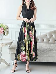 Недорогие -Жен. С летящей юбкой Платье - Цветочный принт Средней длины