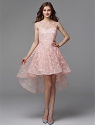 cheap -A-Line Jewel Neck Asymmetrical Tulle Cocktail Party / Prom Dress with Appliques by TS Couture®