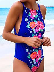cheap -Women's Boho Strap Halter One-piece - Floral Backless High Waist