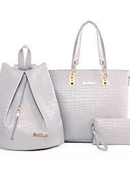 economico -Per donna Sacchetti PU sacchetto regola Set di borsa da 3 pezzi Cerniera Nero / Rosa / Grigio