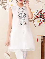 economico -Camicia Per donna Vintage / Moda città Con ricami, Fantasia floreale Colletto