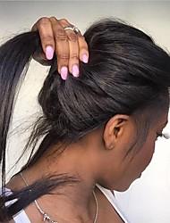 Недорогие -Натуральные волосы Полностью ленточные Парик Бразильские волосы Прямой Парик Стрижка каскад 130% Модный дизайн / Подарок / Для вечеринок Нейтральный / Черный Жен. Средняя длина