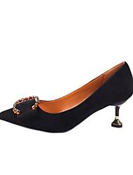 baratos -Mulheres Sapatos Couro Ecológico Primavera Plataforma Básica Saltos Salto Agulha Dedo Apontado para Ao ar livre Preto / Marron