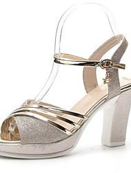 economico -Per donna Scarpe PU (Poliuretano) Estate Con cinghia / Cinturino alla caviglia Sandali Quadrato Oro / Argento