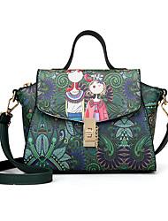 baratos -Mulheres Bolsas PU Leather Bolsa de Ombro Botões / Estampa para Escritório e Carreira Verde