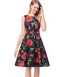 cheap -TS - Dreamy Land Women's Slim A Line Dress - Floral