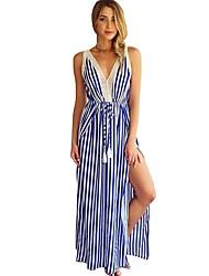 economico -Per donna Vintage Moda città Tubino Swing Vestito - Pizzo Traforato Spacco Lacci, A strisce Maxi Blu e bianco