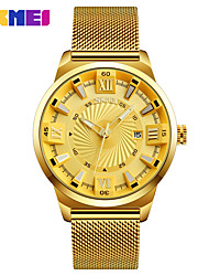 cheap -SKMEI Men's Dress Watch / Wrist Watch Calendar / date / day / Water Resistant / Water Proof / Casual Watch Stainless Steel Band Luxury / Fashion Gold / Large Dial