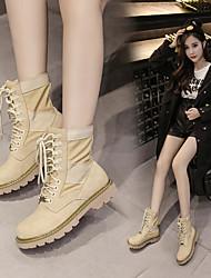 Недорогие -Жен. Обувь Полиуретан Наступила зима Модная обувь Ботинки На толстом каблуке Сапоги до середины икры Хаки