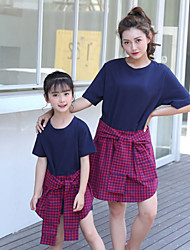 cheap -Adults / Kids Girls' Color Block / Plaid Short Sleeve Dress