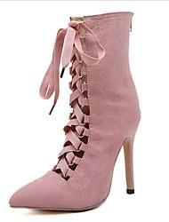 baratos -Mulheres Sapatos Micofibra Sintética PU Outono & inverno Botas da Moda / Tira no Tornozelo Botas Salto Agulha Dedo Apontado Botas Cano