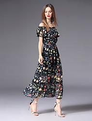 preiswerte -Damen Niedlich / Boho Swing Kleid - Druck, Blumen Maxi