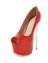 baratos -Mulheres Sapatos Courino Verão Conforto Saltos Salto Agulha Peep Toe Vermelho / Azul / Vinho / Festas & Noite