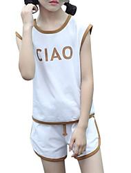 Недорогие -Дети Дети (1-4 лет) Девочки Геометрический принт Контрастных цветов Без рукавов Набор одежды