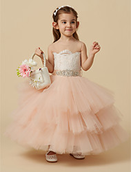 cheap -Ball Gown Knee Length Flower Girl Dress - Lace / Tulle Sleeveless Jewel Neck with Beading / Buttons / Sash / Ribbon by LAN TING BRIDE®