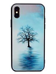 Недорогие -Кейс для Назначение Apple iPhone X / iPhone 8 С узором Кейс на заднюю панель дерево Твердый Закаленное стекло для iPhone X / iPhone 8