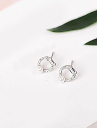 cheap -Women's Cubic Zirconia / Freshwater Pearl Stud Earrings - S925 Sterling Silver, Freshwater Pearl Korean, Sweet, Fashion Silver For Gift / Daily