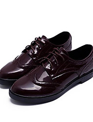 cheap -Women's Shoes Leather Spring Comfort Oxfords Low Heel Round Toe for Outdoor Black / Burgundy