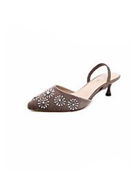 preiswerte -Damen Schuhe Vlies Sommer Pumps Sandalen Stöckelabsatz Spitze Zehe Strass / Niete für Draussen Schwarz / Kaffee