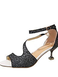 abordables -Mujer Zapatos Semicuero Verano D'Orsay y Dos Piezas Sandalias Tacón Kitten Punta abierta Perla de Imitación Dorado / Negro / Plateado