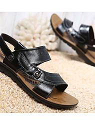 abordables -Homme Chaussures Cuir Eté Confort Sandales Noir / Brun claire / Brun Foncé