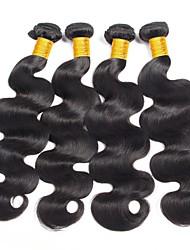 cheap -Peruvian Hair Wavy Natural Color Hair Weaves / Human Hair Extensions 4 Bundles Human Hair Weaves Fashionable Design / Best Quality / New Arrival Natural Black Human Hair Extensions Women's