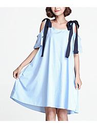 economico -Per donna Vintage Manica a sbuffo Tubino Vestito - A pieghe, Tinta unita Al ginocchio Blu e bianco