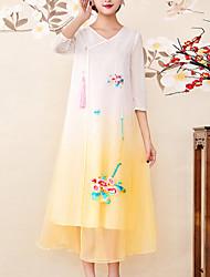 baratos -Mulheres Vintage / Sofisticado balanço Vestido - Bordado, Estampa Colorida Médio