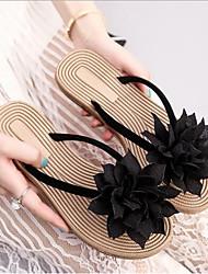 cheap -Women's Shoes PU Fabric Summer Comfort Slippers & Flip-Flops Flat Heel for Casual Black Beige Red Green