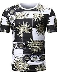 baratos -Homens Camiseta Punk & Góticas Moda de Rua Xadrez Retrato