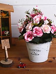 baratos -Flores artificiais 1 Ramo Retro Rosas Flor de Mesa