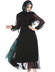 cheap -Women's Basic Jalabiya / Abaya Dress - Color Block Pleated