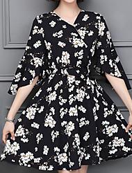 cheap -Women's Basic / Sophisticated Flare Sleeve Sheath Dress - Geometric Print