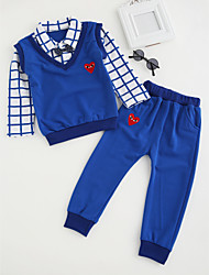 cheap -Boys' Cartoon Clothing Set, Cotton All Seasons Long Sleeves Simple Cute Street chic Red Light Blue Royal Blue