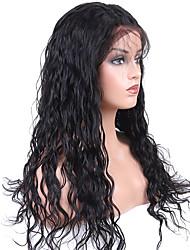 baratos -Cabelo Remy Frente de Malha Peruca Cabelo Brasileiro Ondulado Peruca 130% Com Baby Hair / Macio / Melhor qualidade Natural Mulheres Curto / Longo / Comprimento médio Perucas de Cabelo Natural
