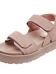 baratos -Mulheres Sapatos Pele Verão Conforto Sandálias Sem Salto Preto / Cinzento / Rosa claro